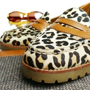 Sperry Top-Sider Leather Calf Hair Loafers Leopard